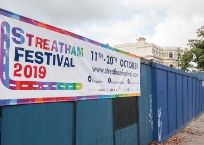 Blue Hoarding Streatham Festival