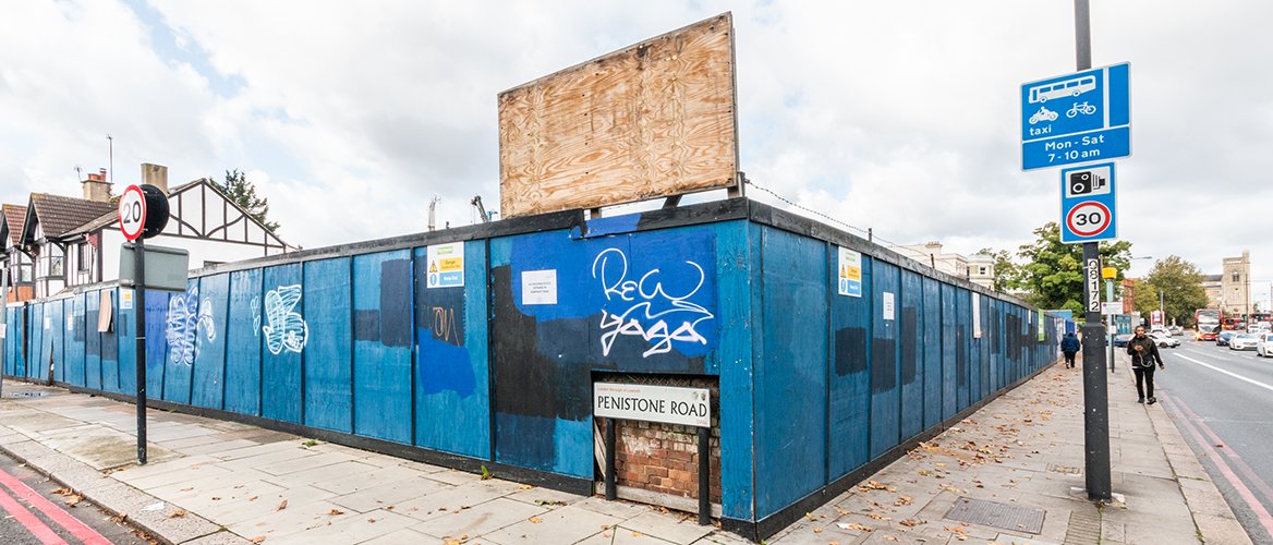 Blue Hoarding Penistone Road