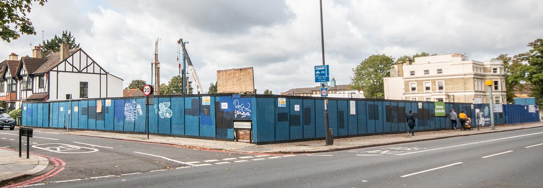 Blue Hoarding Streatham High Road